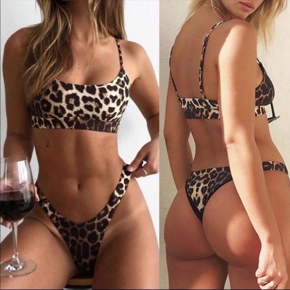 acf107894df Swim   Leopard Print 2 Piece Thong Bikini   Poshmark